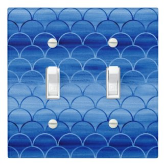 Painted Blue Watercolor Scale Pattern Light Switch Cover