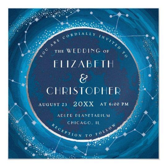 Eclipse Moon and Stars Wedding Invitation