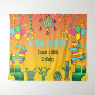 Mexican Fiesta Pinata Party Photo Booth Backdrop
