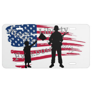American Flag and Soldier Silhouette License Plate