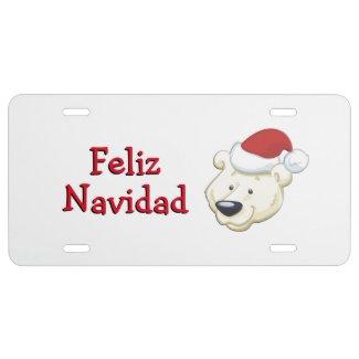 Christmas Bear Feliz Navidad License Plate