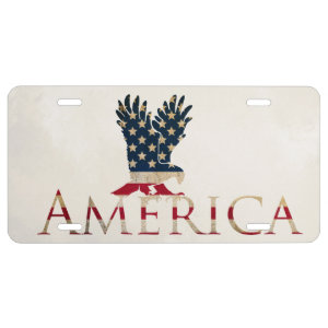 American Flag with Eagle Car Decorative License Plate