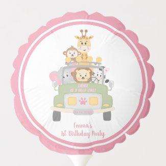 Cute Safari Animals Girl's Pink 1st Birthday Party Balloon