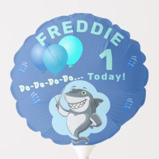 Cute Shark | Blue Birthday Personalized Balloon