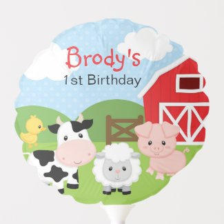 Farm Animal Balloon (Blue for Boys) - Personalized