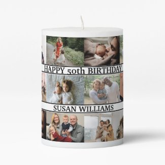 Custom family name and 12 Photo Collage family Pillar Candle