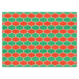 Christmas Holiday Red and Green Ogee Pattern Tissue Paper