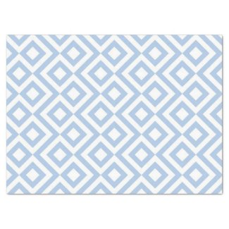 Light Blue and White Meander Tissue Paper