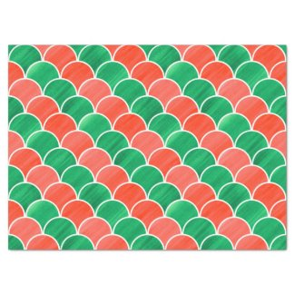 "Christmas Red and Green Painted Scale Pattern 17"" X 23"" Tissue Paper"