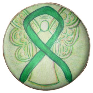 Green Awareness Ribbon Angel Art Cookie Pops