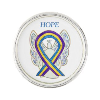 Bladder Cancer Awareness Ribbon Angel Lapel Pin
