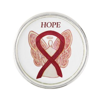 Burgundy Awareness Ribbon Angel Custom Lapel Pin