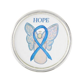 Light Blue Awareness Ribbon Angel Custom Lapel Pin