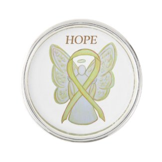 Yellow Awareness Ribbon Angel Custom Lapel Pin Art
