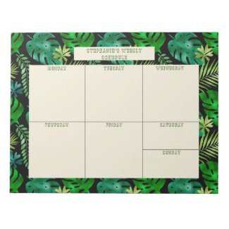 Tropical Leaves Personalized Weekly Calendar Notepad