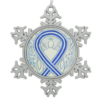 Blue and White ALS Awareness Ribbon Ornament