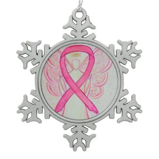 Pink Awareness Ribbon Angel Customized Ornament