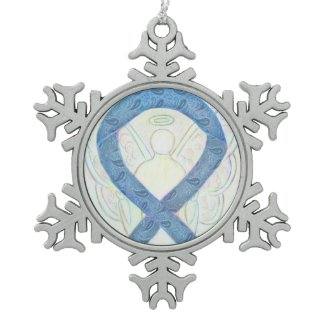 Thyroid Awareness Ribbon Angel Ornament