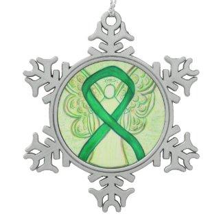 Green Awareness Ribbon Angel Customized Ornament