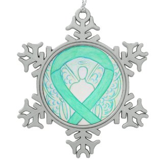 Jade Green Awareness Ribbon Angel Ornament