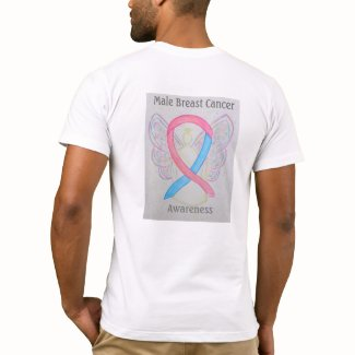 Male Breast Cancer Awareness Ribbon Angel Tee