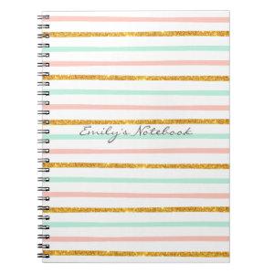 Monogram Girly Pink Gold Glitter Stripe Pattern Notebook