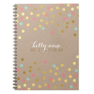 CONFETTI GLAMOROUS cute spot gold coral mint kraft Notebook
