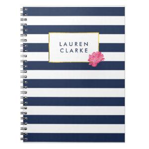 Navy Stripe & Watercolor Pink Peony Notebook