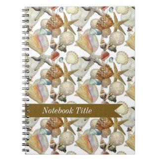 Sea Shells Starfish Beach Journal Notebook