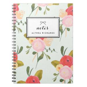 Vintage Peonies Pattern Personalized Notebook