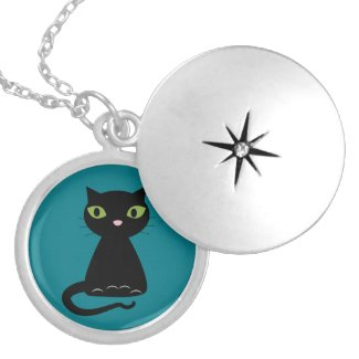 Green-Eyed Black Kitty Locket