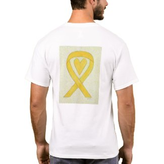 Yellow Awareness Ribbon Heart Custom T-Shirt