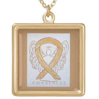 Amber Awareness Ribbon Angel Art Jewelry Necklace