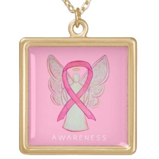 Pink Awareness Ribbon Angel Jewelry Necklace