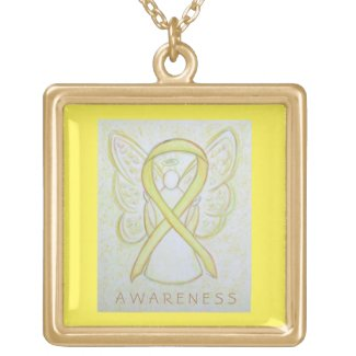 Yellow Awareness Ribbon Angel Art Jewelry Necklace