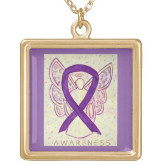 Purple Awareness Ribbon Angel Jewelry Necklace