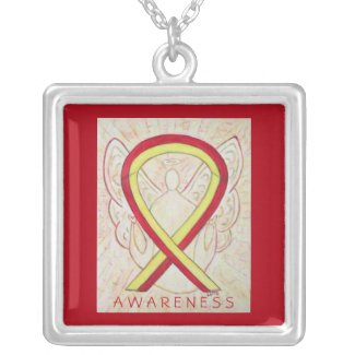 Red and Yellow Awareness Ribbon Angel Necklace