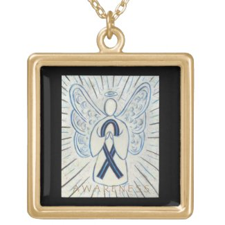 Blue and Black Awareness Ribbon Angel Necklace