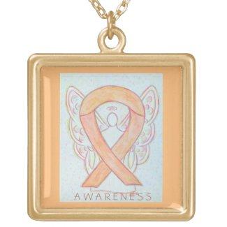 Peach Awareness Ribbon Angel Jewelry Necklace