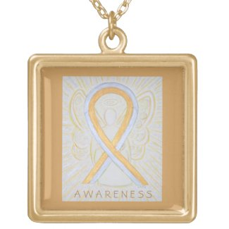 Silver and Gold Awareness Ribbon Angel Necklace