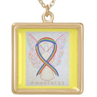 Rainbow Awareness Ribbon Angel Jewelry Necklace