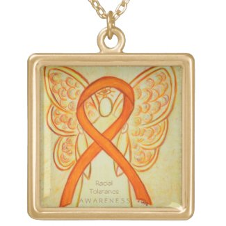 Racial Tolerance Awareness Ribbon Angel Necklace