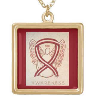 Burgundy and Ivory Awareness Ribbon Necklace