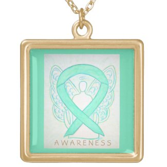 Jade Green Awareness Ribbon Angel Jewelry Necklace