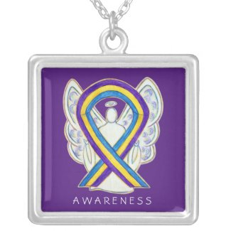 Bladder Cancer Awareness Ribbon Angel Necklace