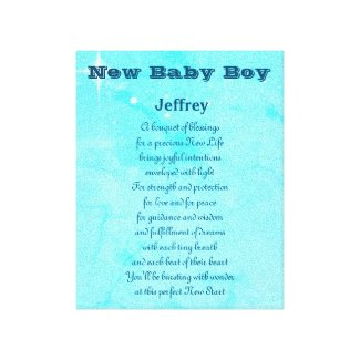 Personalized New Baby Boy Canvas Print