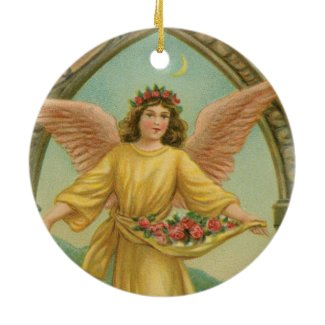 Angel Scattering Roses Holiday Tree Ornament