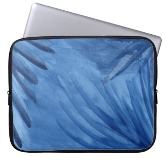 Abstract Blue Rays Watercolor Design Laptop Sleeve