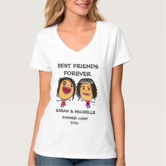 Sisters BFF Rock Cartoon T-Shirt