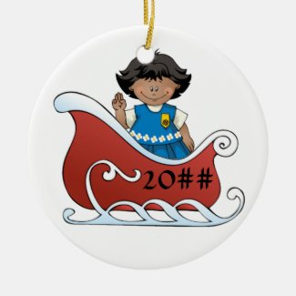 Daisy Scout Sled Dark Skin Ceramic Ornament